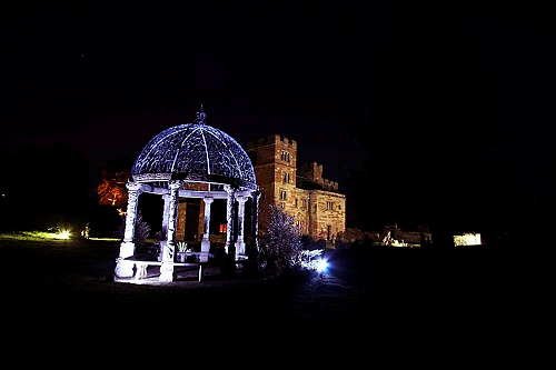 Dalston Hall Wedding Gazebo at night